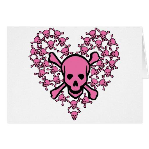 Cráneos rosados en forma del corazón tarjeta de felicitación
