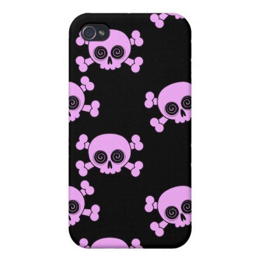 Cráneos rosados lindos iPhone 4 carcasa