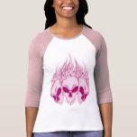 Cráneos rosados llameantes camisetas