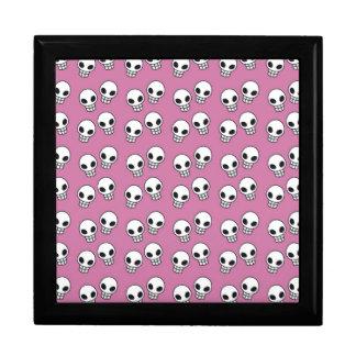 Cráneos rosados retros caja de regalo