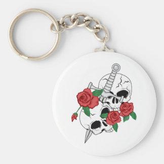 Cráneos, rosas y daga llavero redondo tipo pin