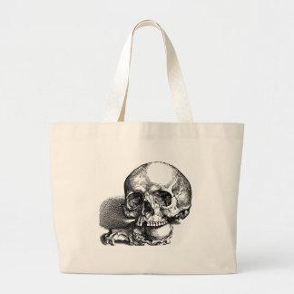 Cráneos, ser humano y animal bolsa tela grande