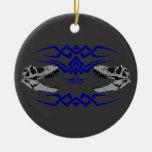 Cráneos tribales de T-Rex azules Adornos De Navidad