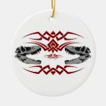 Cráneos tribales de T-Rex rojos Ornamentos De Reyes Magos