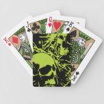 Cráneos verdes del Grunge Baraja Cartas De Poker