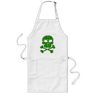 Cráneos verdes y negros de neón para Halloween Delantales