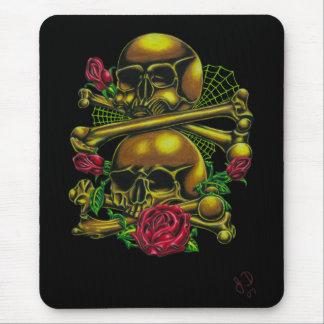 Cráneos, Web, y rosas Mousepad Alfombrillas De Raton