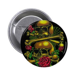 Cráneos, Web, y rosas Pin Redondo 5 Cm