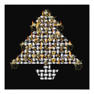 """Cráneos y árbol del metal invitación 5.25"""" x 5.25"""""""
