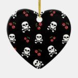 Cráneos y cerezas del Rockabilly de RAB en negro Adorno Navideño De Cerámica En Forma De Corazón