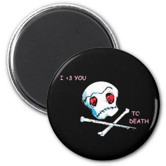 """Cráneos y corazones de Emo: """"Te amo accesorio de Imán Redondo 5 Cm"""
