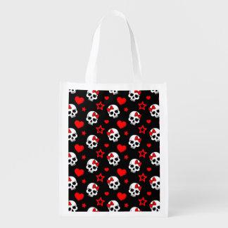Cráneos y corazones del gótico bolsa para la compra
