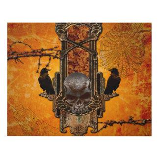 Cráneos y cuervo impresionantes en un botón con cuadro