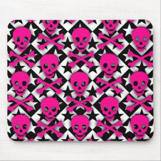 Cráneos y estrellas rosados de Emo Alfombrilla De Raton