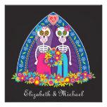 Cráneos y flores del azúcar que casan la invitació