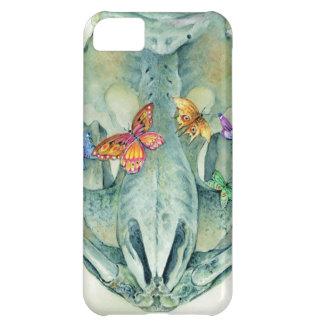 Cráneos y mariposas funda para iPhone 5C