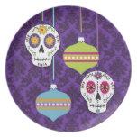 Cráneos y placa de los ornamentos plato de comida
