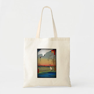 Cranes and Blue Water Canvas Bag