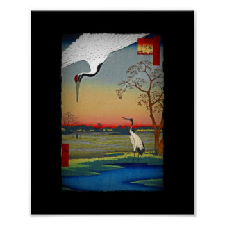 Cranes and Blue Water Poster