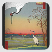 Cranes and Blue Water Square Sticker