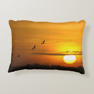 Cranes at sunrise accent pillow