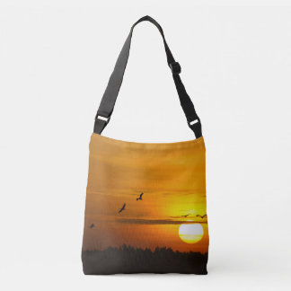 Cranes at sunrise crossbody bag