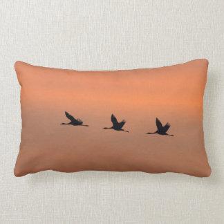 Cranes at sunrise pillow