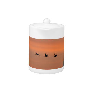 Cranes at sunrise teapot