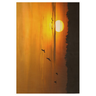 Cranes at sunrise wood poster
