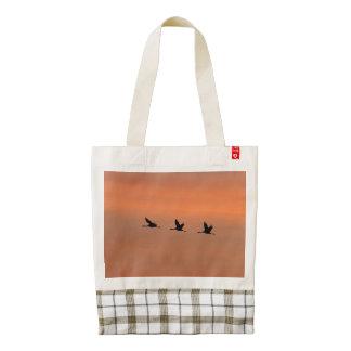 Cranes at sunrise zazzle HEART tote bag