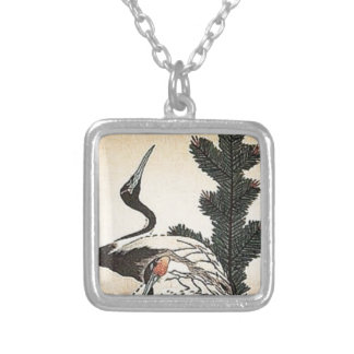 Cranes at Sunset Silver Plated Necklace