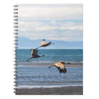 Cranes flying at Homer Alaska Notebook