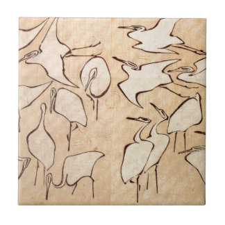 Cranes from Quick Lessons in Simplified Drawing Ceramic Tile