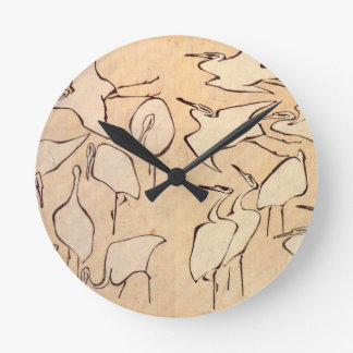 Cranes from Quick Lessons in Simplified Drawing Round Clock