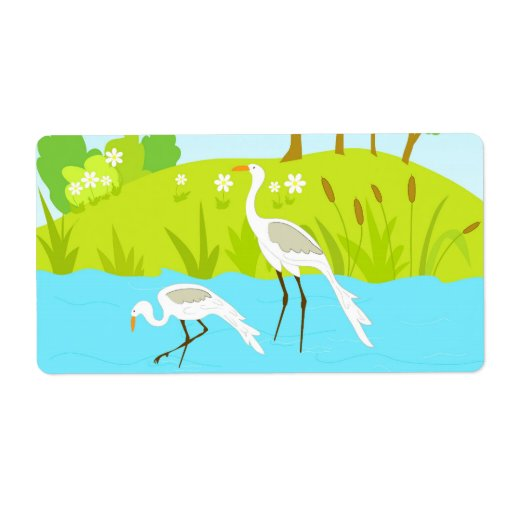Cranes in pond shipping label