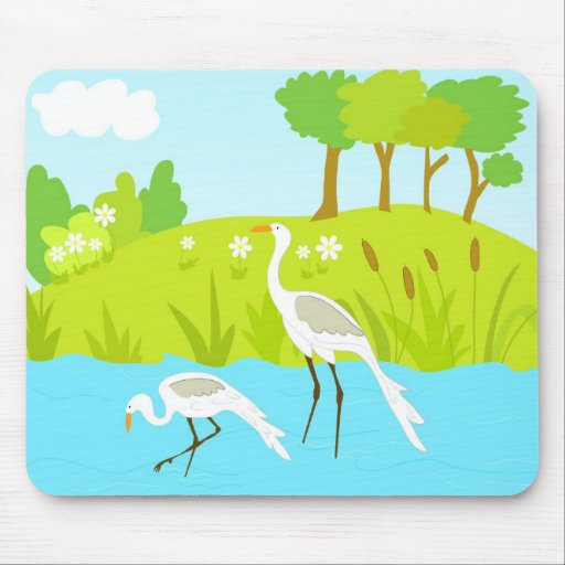 Cranes in pond mouse pad