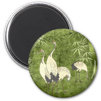 Cranes in the Bamboo Forest 2 Inch Round Magnet