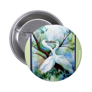 Cranes Kissing Pinback Button