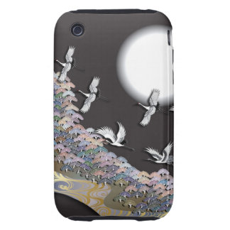 Cranes, moon and pines tough iPhone 3 case