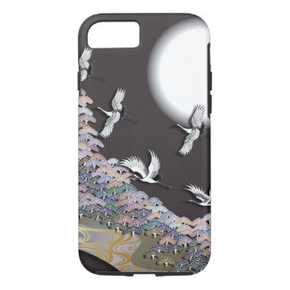 Cranes, moon and pines iPhone 7 case
