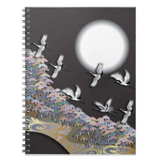 Cranes, moon and pines notebook