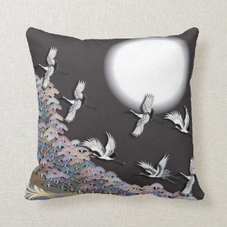 Cranes, moon and pines pillow