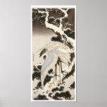 Cranes on a Pine Tree, Hokusai, 1832 Poster