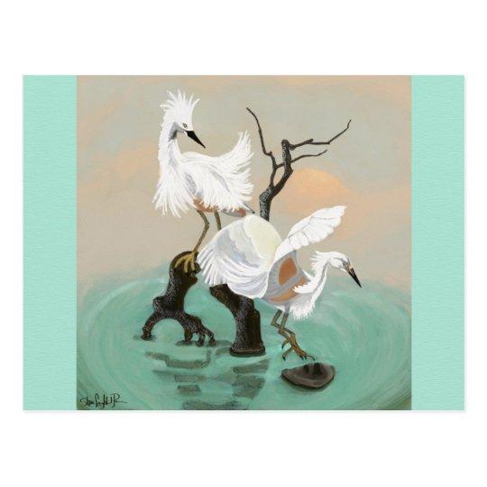 Cranes Painting Postcard