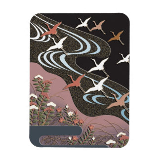 Cranes,river,autumn flowers and mist magnet