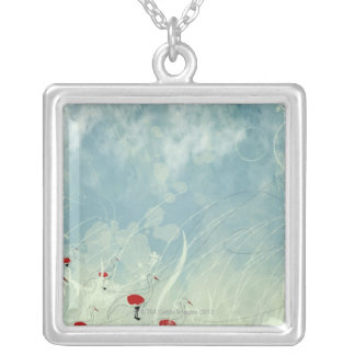 Cranes Silver Plated Necklace