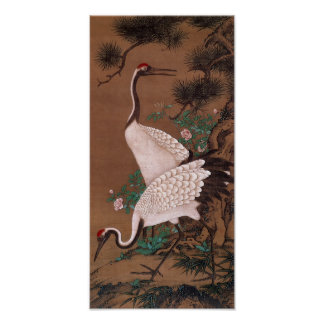Cranes, Watanabe Shuseki (渡辺秀石) Poster