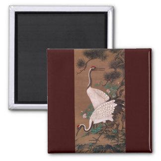 Cranes, Watanabe Shuseki Japanese Fine Art 2 Inch Square Magnet