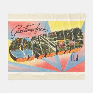 Cranford New Jersey NJ Vintage Travel Postcard- Fleece Blanket