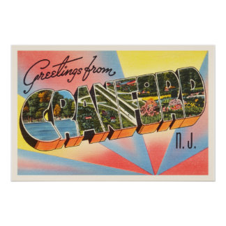 Cranford New Jersey NJ Vintage Travel Postcard- Poster
